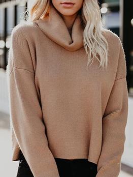 Simple Style Khaki Knitted Turtleneck Sweater