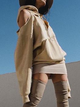 Fashion Cold Shoulder Elastic Hem Khaki Hoodies