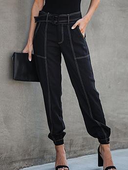 Threads Side Pockets Black Jogger Pants