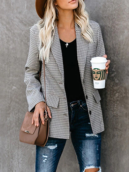 Autumn OL Style Single Breasted Gray Plaid Blazer