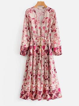 V Neck Geometric Floral Print Long Sleeve Maxi Dress