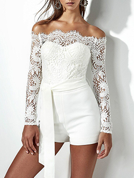 Lace Panel Long Sleeve Off The Shoulder Romper