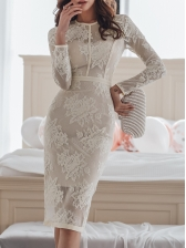 Elegant Solid Crew Neck Long Sleeve Lace Dress