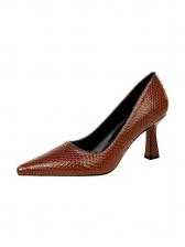 Snake Embossed Chunky Heels For Women