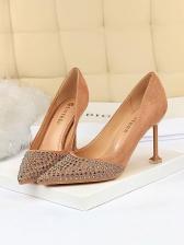 Vintage Suede Rivet High Heels