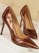 Solid Artificial Plush Stiletto Shoes
