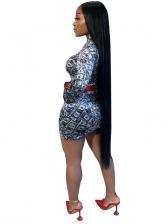 Dollar Printed Cut Out Long Sleeve Bodycon Dress