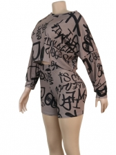 Long Sleeve Letter Print Crop Top And Shorts Set
