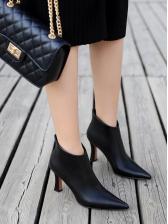 Simple Design Solid High Heel Boots