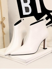 Pure Color Pointed Winter Boots Women