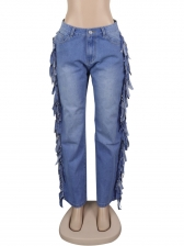 Fashion Tassel High Waist Jeans For Women