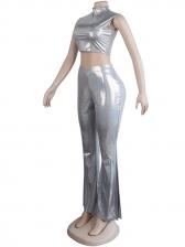 Mock Neck Glitter Sliver Crop Top And Flare Pants Set