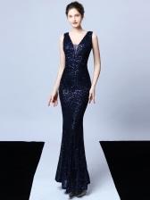 Boutique Sleeveless Sequin Fishtail Long Evening Dress