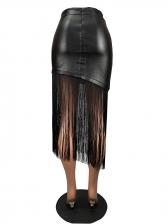 Trendy Tassel Hem All Black Pu Midi Skirt