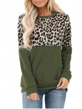 Contrast Color Leopard Print Crewneck Sweatshirt