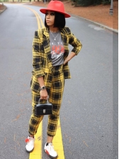 Lapel Long Sleeve Yellow Plaid Women Suit Causal