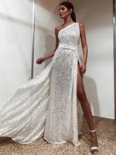 Inclined Shoulder High Split Sequin Long Evening Dress