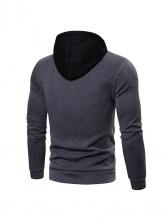 Casual Contrast Color Hoodies For Men