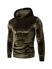 Casual Solid Long Sleeve Male Pullover Hoodie