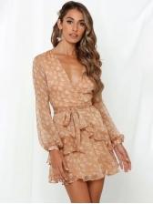 V Neck Tie-Wrap Ruffled Long Sleeve Floral Dress