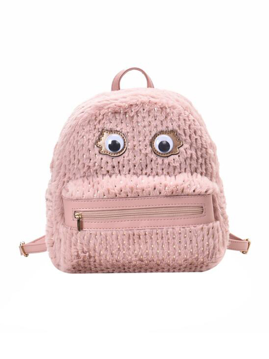 Cute Style Eyes Design Plush Backpacks For Women