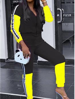 Side Striped Contrast Color Activewear Sets