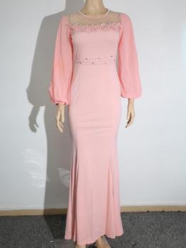 Lace Beading Patchwork Long Sleeve Maxi Dress