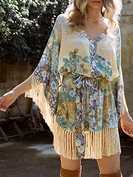 Tassel Floral Long Sleeve Dress