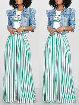 Stitching Color Stripes High Waist Wide Leg Pants