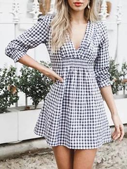 Elastic Waist Deep V Long Sleeve Plaid Dress