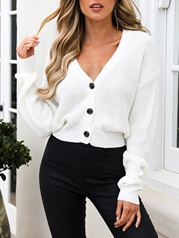 Solid V Neck Single Breasted White Sweater
