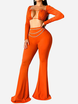 Bright Color Bell Bottom Crop Top And Pants Set