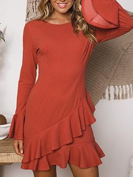 Pure Color Irregular Ruffled Hem Long Sleeve Dress