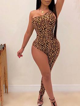 Inclined Shoulder Single Leg Leopard Print Jumpsuit