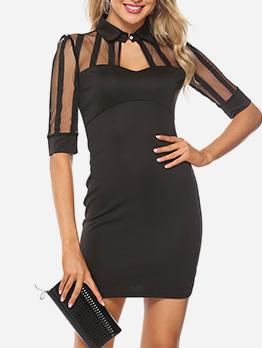 Tulle Patchwork Solid Black Short Sleeve Dress