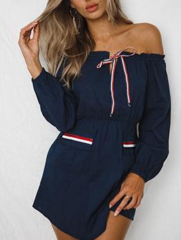 Of Shoulder Long Sleeve Shirt Dress