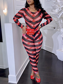 Sexy Mesh Letter Stripes Printed 2 Piece Outfits