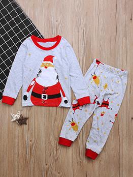 Christmas Santa Claus Print Girls Clothing Sets