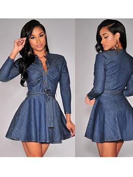 Solid Button Up Denim Short Dress