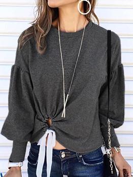 Twist Hem Lantern Sleeve Gray T Shirt