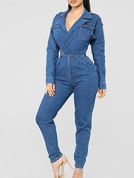 Multiple Pockets Solid Denim Jumpsuit For Women