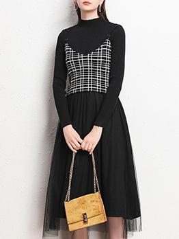 Plaid Cami Knitted Gauze 2 Piece Dress Set