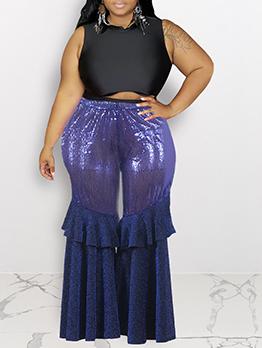 Sequin Panel Ruffled Plus Size Wide Leg Pants