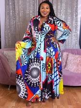 Plus Size Large Hem Print Maxi Dress