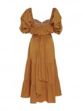 Puff Sleeve Ruffled Long Sleeve Midi Dress
