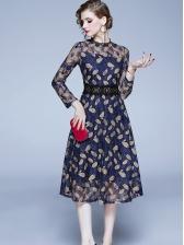 Classy Leaves Pattern Long Sleeve Lace Dress