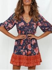 Bohemian Ruffled Hem Long Sleeve Floral Dress