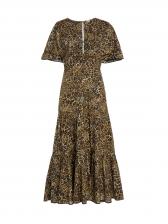 Leopard Printed Short Sleeve Ruffled Casual Maxi Dresses
