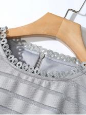 Crew Neck Embroidery Patchwork Midi Dress
