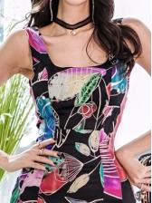 Square Neck Printed Sleeveless Sheath Dress
